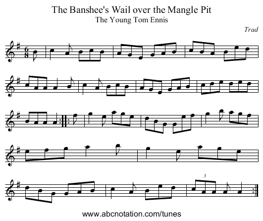 Banshee's Wail over the Mangle Pit, The - staff notation