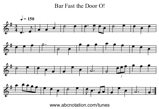 Bar Fast the Door O! - staff notation