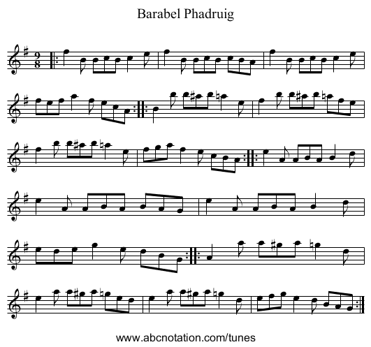 Barabel Phadruig - staff notation