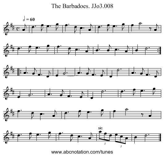 Barbadoes,The. JJo3.008 - staff notation