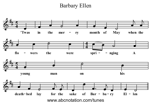 Barbary Ellen - staff notation