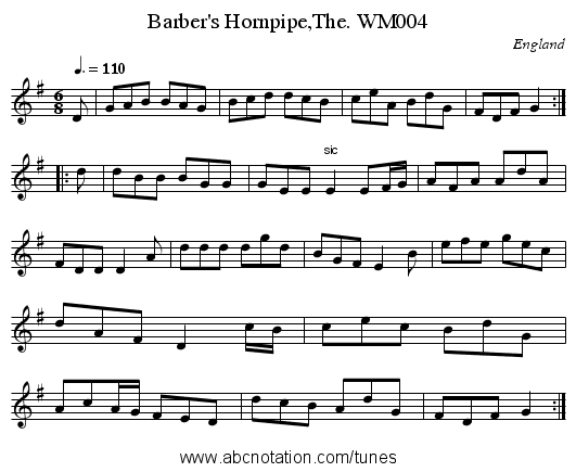 Barber's Hornpipe,The. WM004 - staff notation
