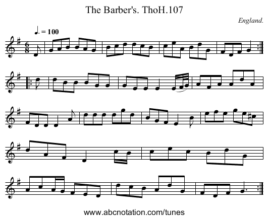Barber's. ThoH.107, The - staff notation