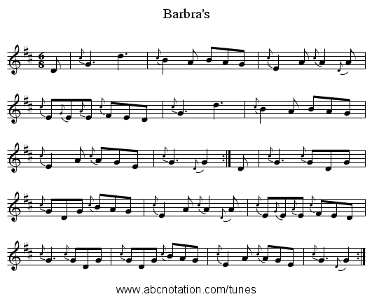 Barbra's - staff notation