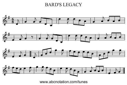 BARD'S LEGACY - staff notation