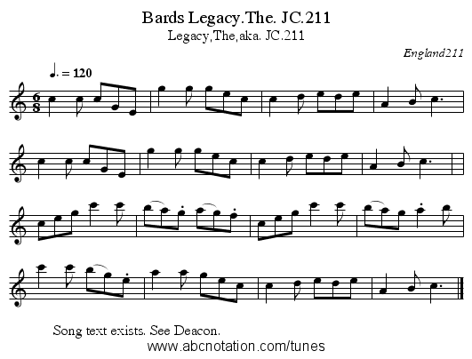 Bards Legacy.The. JC.211 - staff notation