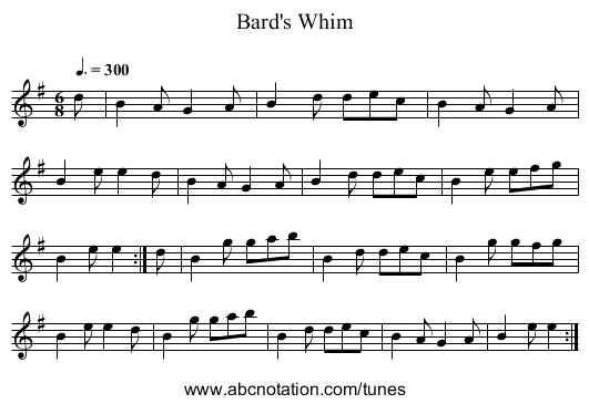 Bard's Whim - staff notation