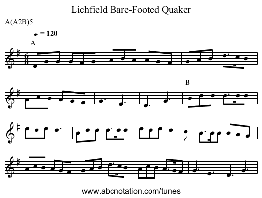 Bare-Footed Quaker, Lichfield - staff notation