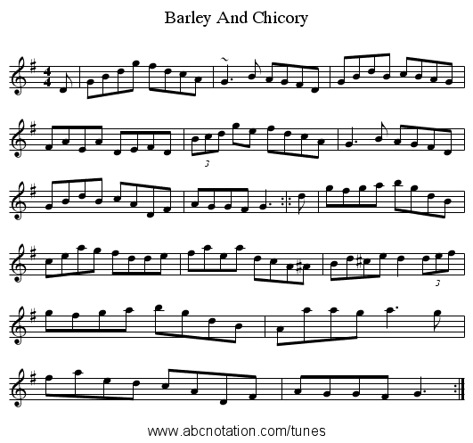 Barley And Chicory - staff notation