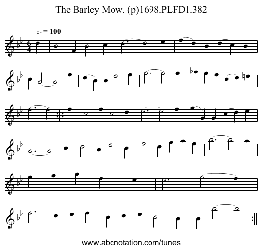 Barley Mow. (p)1698.PLFD1.382, The - staff notation
