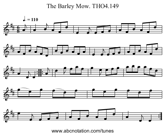 Barley Mow. THO4.149, The - staff notation