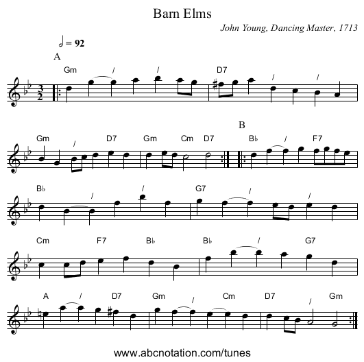 Barn Elms - staff notation