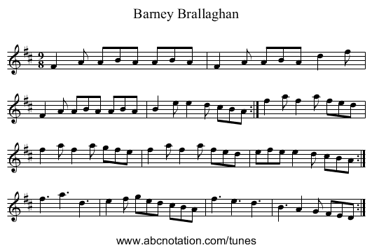 Barney Brallaghan - staff notation
