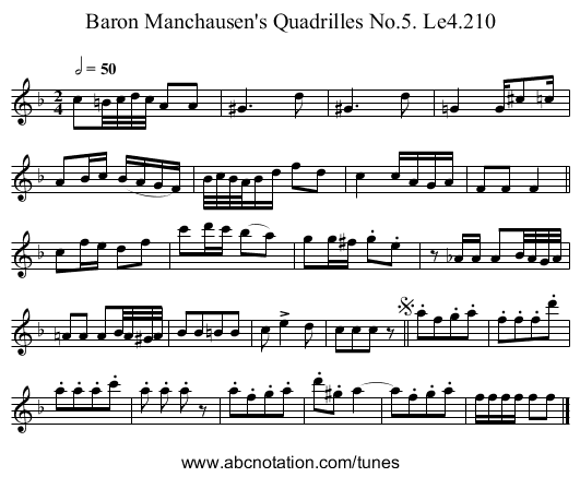 Baron Manchausen's Quadrilles No.5. Le4.210 - staff notation