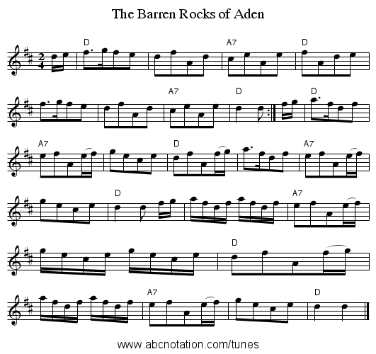 Barren Rocks of Aden, The - staff notation