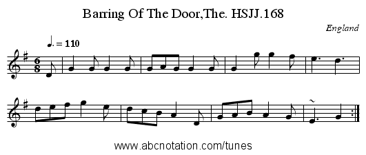 Barring Of The Door,The. HSJJ.168 - staff notation