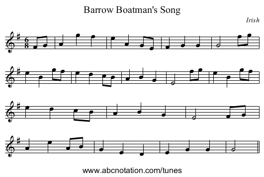 Barrow Boatman's Song - staff notation