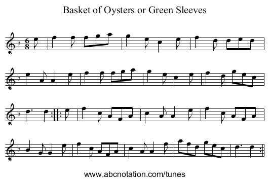 Basket of Oysters [2], The - staff notation