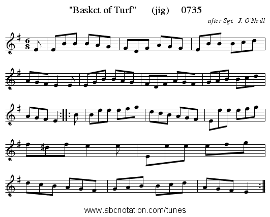 Basket of Turf      (jig)     0735 - staff notation