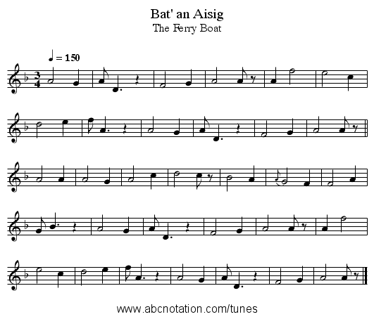 Bat' an Aisig - staff notation