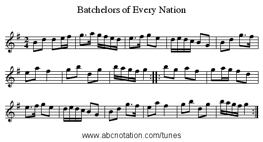 Batchelors of Every Nation - staff notation