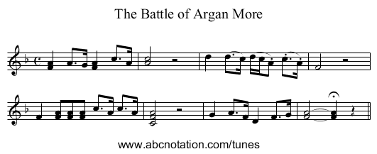 Battle of Argan More, The - staff notation