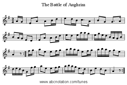 Battle of Aughrim, The - staff notation