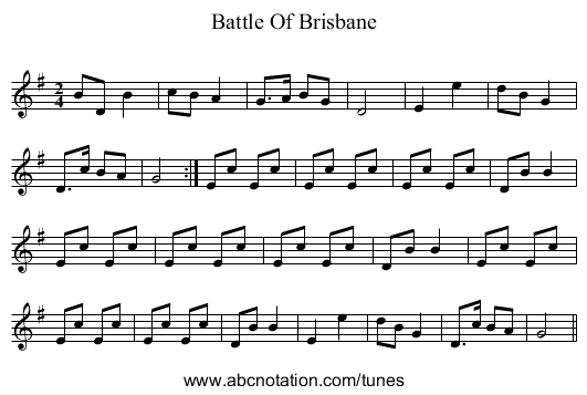 Battle Of Brisbane - staff notation