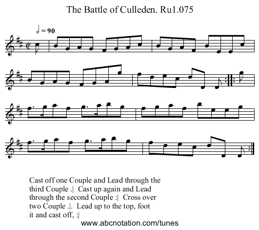 Battle of Culleden. Ru1.075, The - staff notation