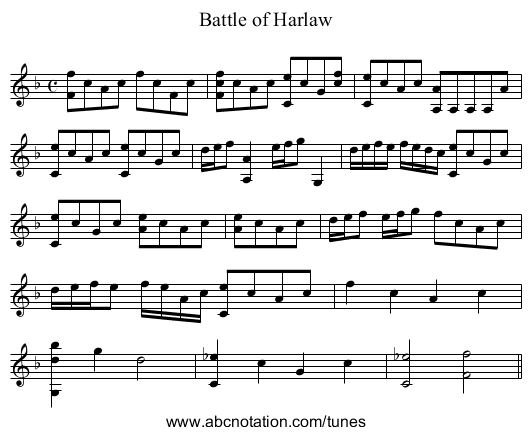 Battle of Harlaw - staff notation