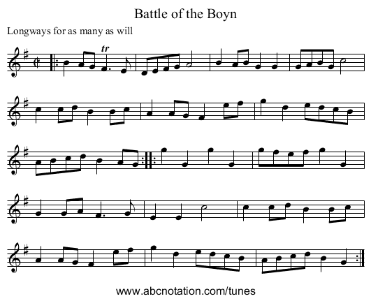 Battle of the Boyn - staff notation