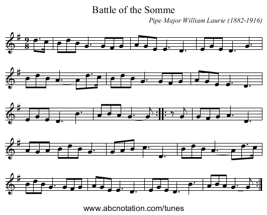 Battle of the Somme - staff notation
