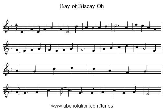Bay of Biscay Oh - staff notation