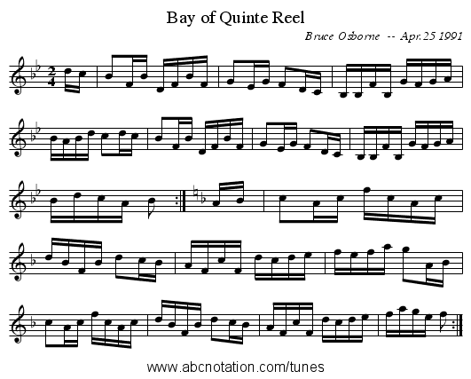 Bay of Quinte Reel - staff notation