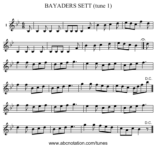 BAYADERS SETT (tune 1) - staff notation