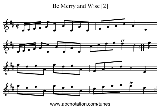 Be Merry and Wise [2] - staff notation
