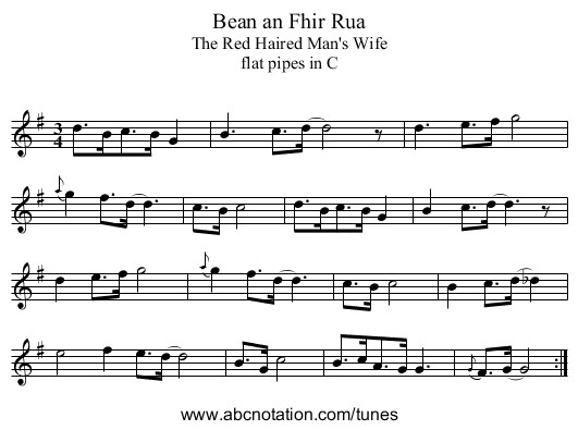 Bean an Fhir Rua - staff notation