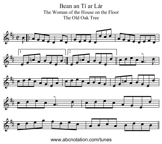 Bean an Tí ar Lár - staff notation