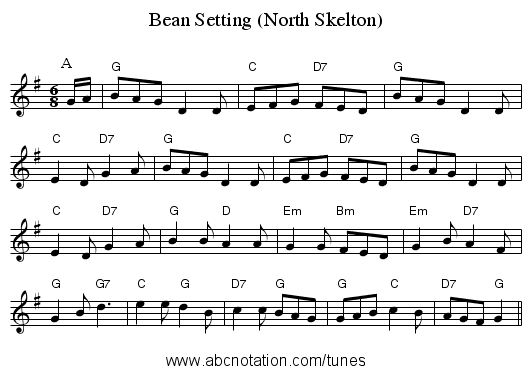 Bean Setting (North Skelton) - staff notation