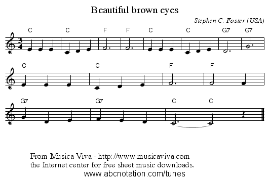 Beautiful brown eyes - staff notation
