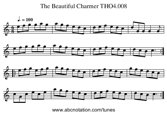 Beautiful Charmer THO4.008, The - staff notation