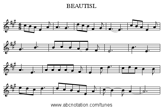 BEAUTISL - staff notation