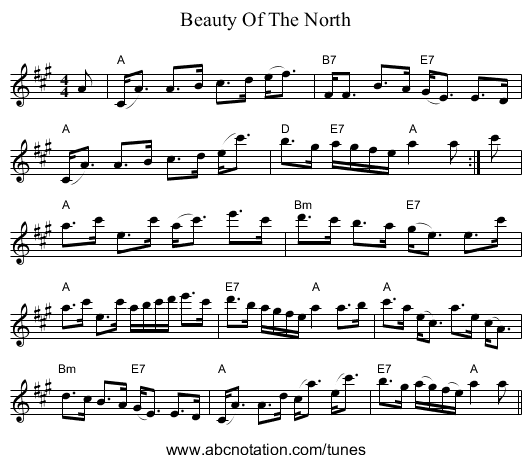 Beauty Of The North - staff notation