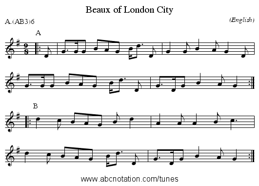 Beaux of London City - staff notation