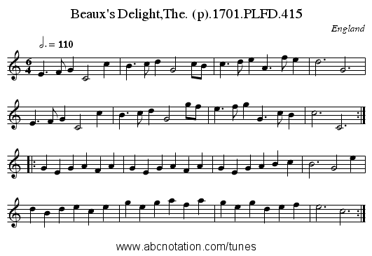 Beaux's Delight,The. (p).1701.PLFD.415 - staff notation