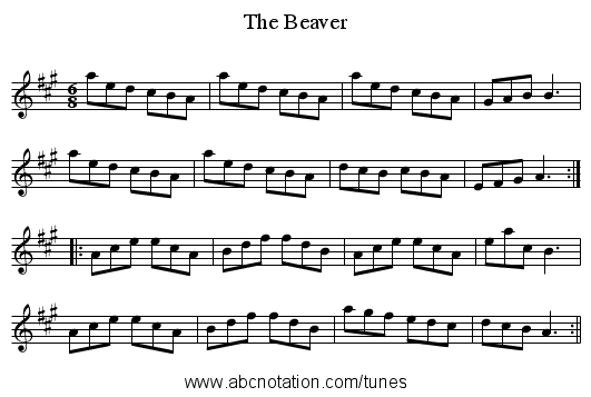Beaver, The - staff notation
