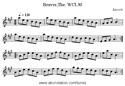 Beaver,The. WCl.30 - staff notation