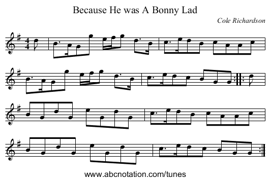 Because He was A Bonny Lad - staff notation
