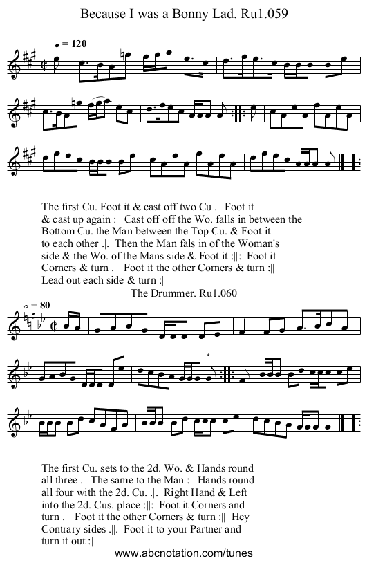 Because I was a Bonny Lad. Ru1.059 - staff notation