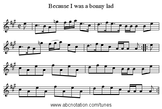 Because I was a bonny lad - staff notation